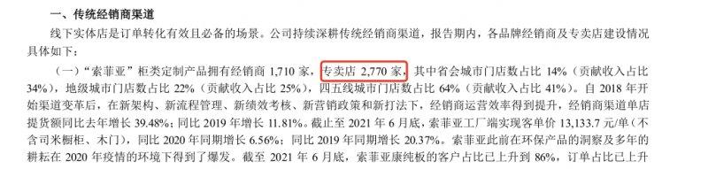 索菲亚财报:2021年上半年专卖店为2770家