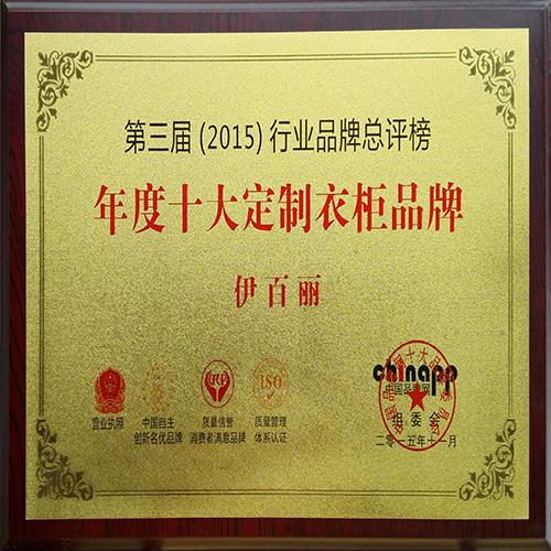 第三届行业品牌总评榜年度十大定制衣柜品牌